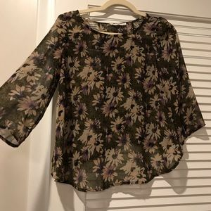 Sage green floral top with semi-open back